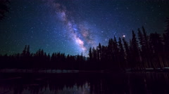 Astro Timelapse of Milky Way over Alpine Lake Reflection in Yosemite -Tilt Up- Stock Footage