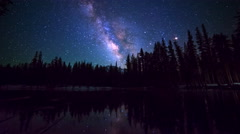 Astro Timelapse of Milky Way over Alpine Lake Reflection in Yosemite -Tilt Down- Stock Footage