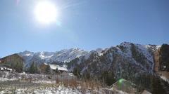 Panorama of alpine village winter landscape Stock Footage