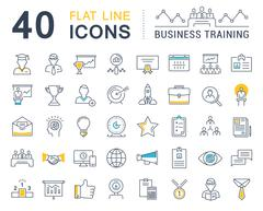 Set Vector Flat Line Icons Business Training Stock Illustration