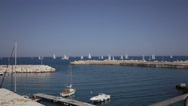 Sailboats pier calm day Stock Footage