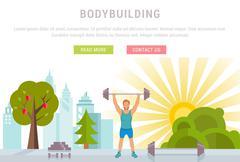 Web Banner Fitness or Bodybuilding Stock Illustration