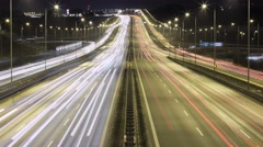 Time lapse night traffic on highway Stock Footage