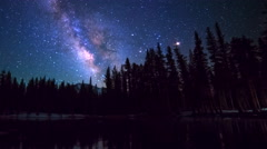 Astro Timelapse of Milky Way over Alpine Lake Reflection in Yosemite -Zoom In- Stock Footage