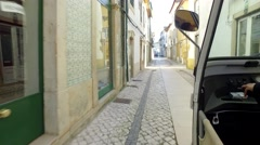 Driving  tuktuk in street  - Lisbon, Portugal Stock Footage