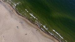 Aerial sandy beach waves and sea coastline Stock Footage