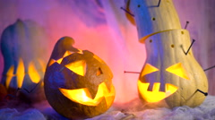 Evil pumpkin in night light glow, vapor or mist flowing around. Traditional Stock Footage