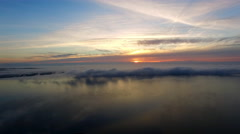 Aerial morning lake sky and island after sunrise Stock Footage