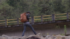 Backpacking and travel - along highway in ecuador Stock Footage