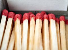 Pile of Wooden matches isolated over the white background Stock Photos
