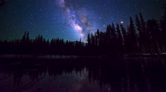 Astro Timelapse of Milky Way over Alpine Lake Reflection in Yosemite  Stock Footage