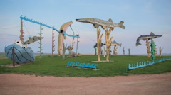 Sunrise Over Giant Fish Art Roadside Attraction Enchanted Highway, North Dakota Stock Footage