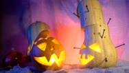Funny pumpkin head the company during the night Halloween. sinister composition Stock Footage