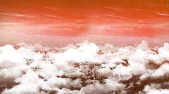 3d animation sunset sky with clouds with camera moving in skyscape background Stock Footage