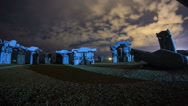 Night Timelapse Carhenge Art Monument Stonehenge Replica Stock Footage