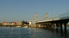 City bridge of Kampen at the IJssel river Stock Footage