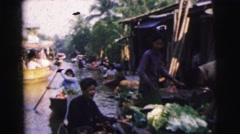1962: floating flower markets in asia CALCUTTA Stock Footage