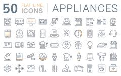 Set Vector Flat Line Icons Appliance Stock Illustration