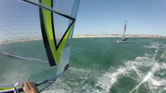POV of a man windsurfing. Stock Footage