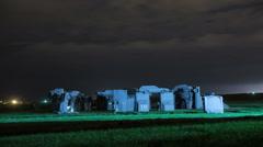 Thunderstorm Night Carhenge Monument to Stonehenge Stock Footage