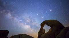 Astro Time Lapse of Milky Way thru Mobius Arch in Alabama Hills -Tilt Up- Stock Footage