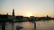 Sunset at quay of Kampen, time lapse Stock Footage