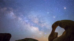 Astro Time Lapse of Milky Way thru Mobius Arch in Alabama Hills -Pan Right- Stock Footage