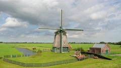 TIMELAPSE clouds over windmill,Hoorn,Netherlands Stock Footage