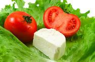 Tomatos salad cheese Stock Photos