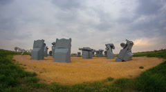 HD Wide Time-lapse of Carhenge roadside attraction under rain storm Stock Footage