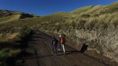 Ecuador men hiking trail in mountains Stock Footage