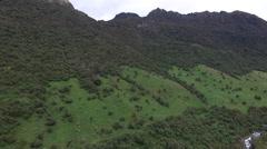 Ecuador Papallacta Aerial of countryside Stock Footage