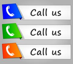 Call us paper design web buttons Stock Illustration