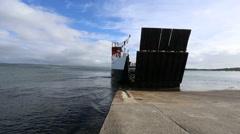 Calmac ferry arriving Tayinloan Scotland Stock Footage