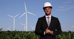 Windpower Plant Farm Optimistic Businessman Thumb Up Sign Smiling Looking Camera Stock Footage