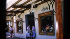 1951: a market area beside a road area is seen FLORIDA Stock Footage
