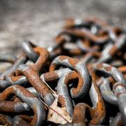 Pile of old rusted chains Stock Photos