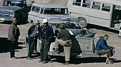Nuclear test 1963: workers waiting before the explosion Stock Footage