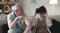 Elderly Woman Trying Virtual Reality Glasses Stock Footage