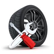 Car wheel on a white background  (done in 3d) Stock Illustration