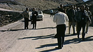 Nuclear test 1963: spectators leaving the area Stock Footage