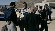 Nuclear test 1963: spectators talking before the explosion Stock Footage