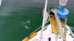 4K Boat Bow and Anchor Green Ocean, Nautical Sea Sail Leisure Stock Footage