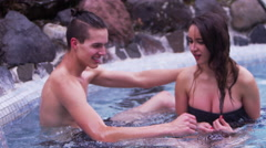 Hot Springs - Couple together on vacation Stock Footage