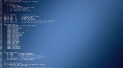 Source code scrolling blue gradient Stock Footage