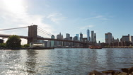 Brooklyn Bridge, East River and Manhattan New York City Day Timelapse Stock Footage
