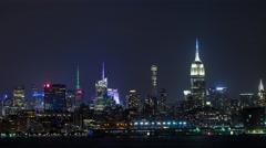 New York City Manhattan Skyline Night Timelapse Stock Footage