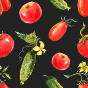 Watercolor tomato and cucumber pattern Stock Illustration