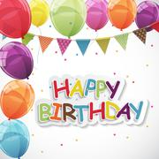 Happy Birthday Card Template with Balloons and Flags Vector Illu Piirros