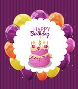 Color Glossy Happy Birthday Balloons, Flags and Cake Banner Back Piirros